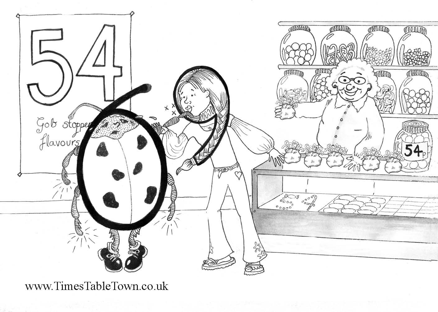 Free Times Table Story colouring sheets -